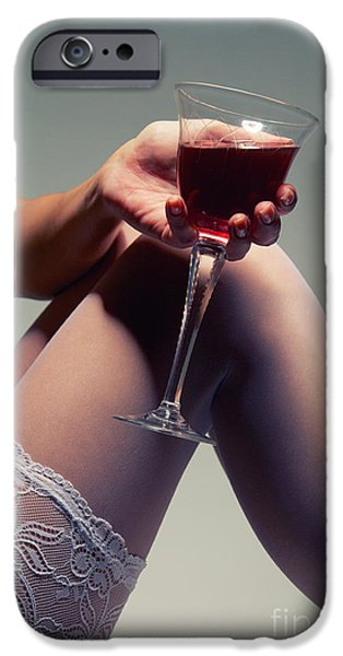 Wine Legs iPhone Cases - White Stockings With Wineglass iPhone Case by Aleksey Tugolukov