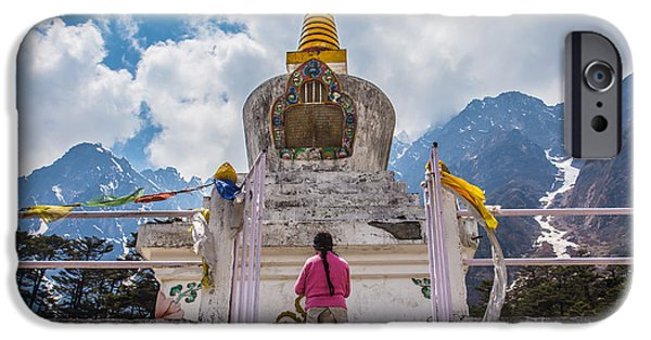 Tibetan Buddhism iPhone Cases - White stupa at Yumthang Valley in Lachung North Sikkim India iPhone Case by Nattee Chalermtiragool