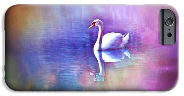 Pastel Pyrography iPhone Cases - White Swan in colorful fog iPhone Case by Lilia D