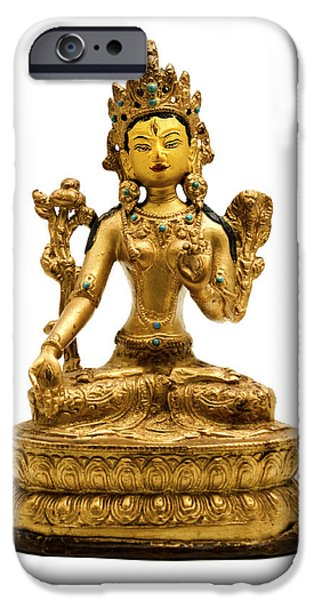 Bodhisattva iPhone Cases - White Tara iPhone Case by Fabrizio Troiani