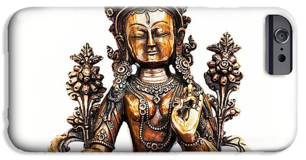 Bodhisattva iPhone Cases - White Tara iPhone Case by Tim Gainey