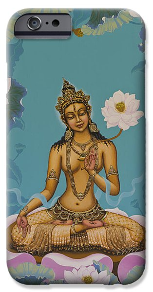 Tibetan Buddhism iPhone Cases - White Tara iPhone Case by Yuliya Glavnaya