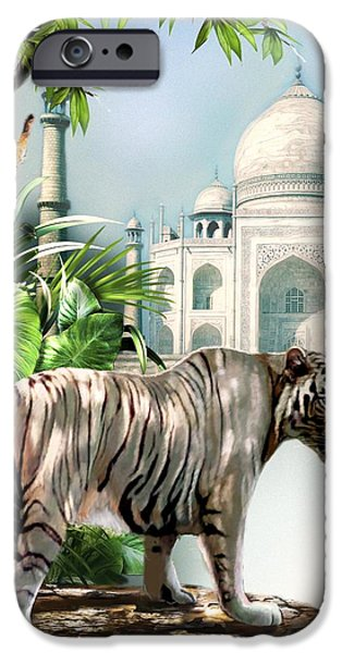 Wildlife Imagery iPhone Cases - White Tiger and the Taj Mahal Image of Beauty iPhone Case by Gina Femrite