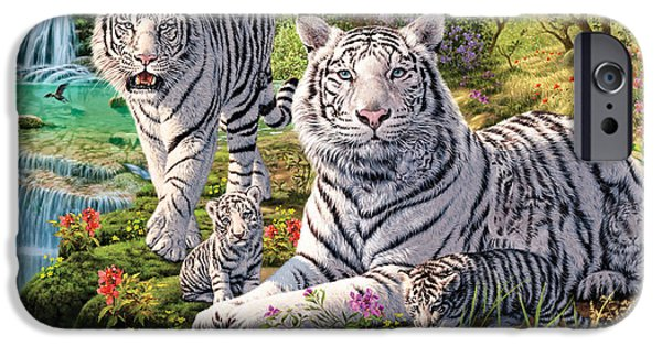 Authority iPhone Cases - White Tiger Clan iPhone Case by Steve Read