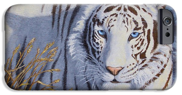 Cat Prints iPhone Cases - White Tiger - Crystal Eyes iPhone Case by Crista Forest