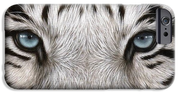 Stripes iPhone Cases - White Tiger Eyes Painting iPhone Case by Rachel Stribbling