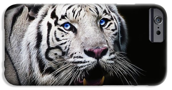 Tiger Fractal iPhone Cases - White Tiger - Fractal iPhone Case by Paul Danaher