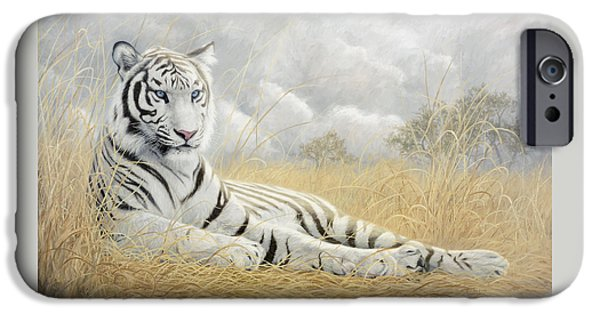 Bengal Tiger iPhone Cases - White Tiger iPhone Case by Lucie Bilodeau