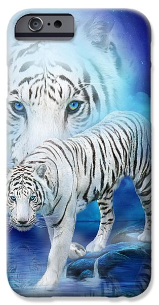 White Cat Art iPhone Cases - White Tiger Moon iPhone Case by Carol Cavalaris