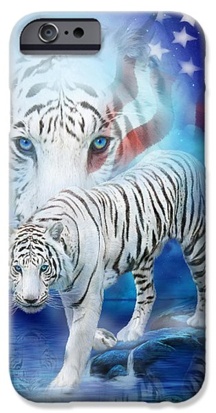 Independence Day Mixed Media iPhone Cases - White Tiger Moon - Patriotic iPhone Case by Carol Cavalaris