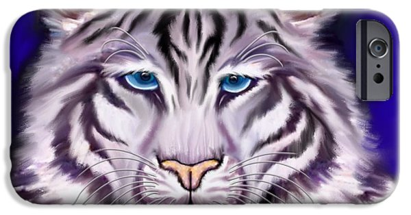 Eye Of The Tiger iPhone Cases - White Tiger iPhone Case by Nick Gustafson