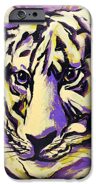 Mike The Tiger iPhone Cases - White Tiger Not iPhone Case by Becca Lynn Weeks