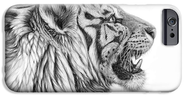 Beautiful Cat Drawings iPhone Cases - White tiger - Pantera tigris tigris iPhone Case by Svetlana Ledneva-Schukina