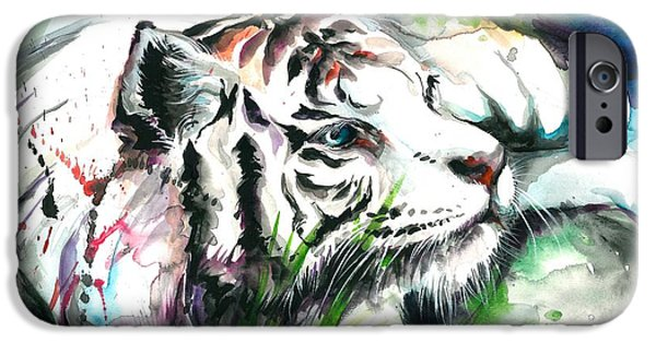 Het Paintings iPhone Cases - White Tiger Resting iPhone Case by Tiberiu Soos