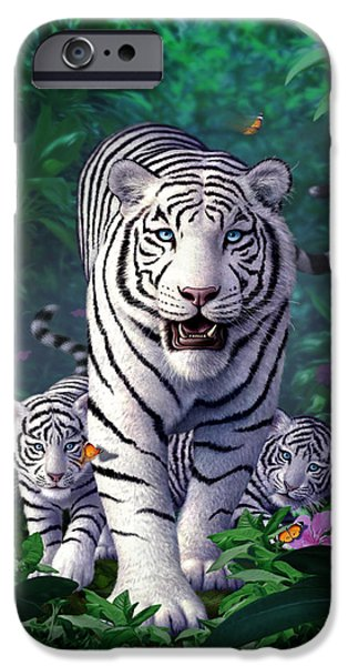 Tiger Digital iPhone Cases - White Tigers iPhone Case by Jerry LoFaro