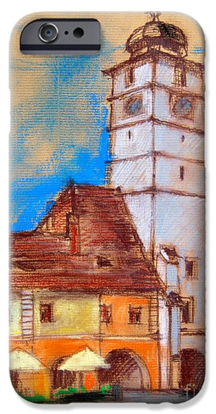 White House Pastels iPhone Cases - White Tour In Sibiu iPhone Case by Mona Edulesco