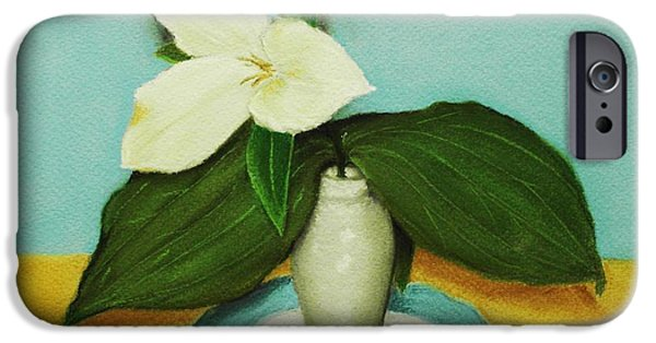 Florals Pastels iPhone Cases - White Trillium iPhone Case by Anastasiya Malakhova