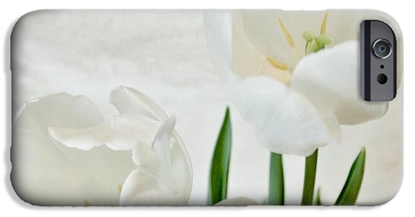 Green Posters Digital iPhone Cases - White Tulips Inside iPhone Case by Marsha Heiken
