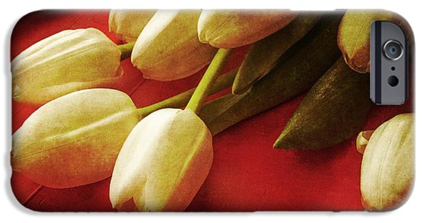 Day iPhone Cases - White Tulips over Red iPhone Case by Edward Fielding