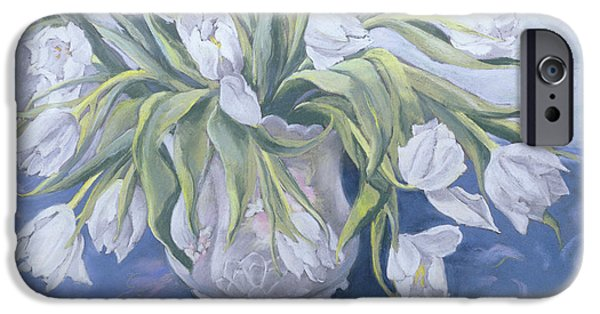 Floral Photographs iPhone Cases - White Tulips Pastel On Paper iPhone Case by Cristiana Angelini