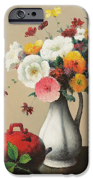 Boxes Paintings iPhone Cases - White Vase and Red Box iPhone Case by Felix Elie Tobeen