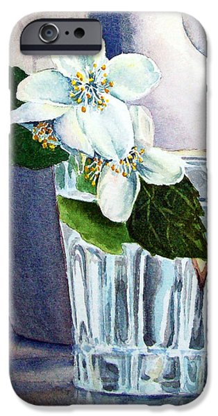 Printmaking Paintings iPhone Cases - White White Jasmine  iPhone Case by Irina Sztukowski