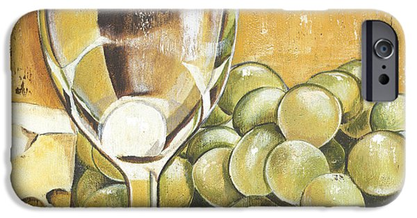 Wine Glasses Paintings iPhone Cases - White Wine And Cheese iPhone Case by Debbie DeWitt