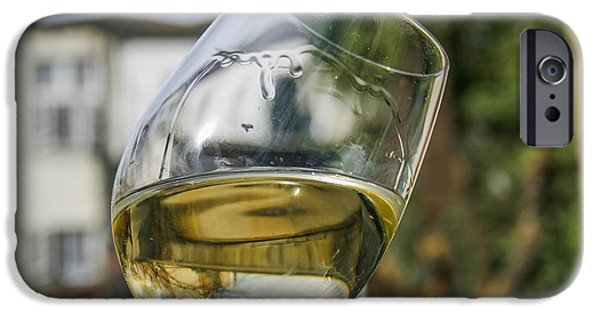 Winetasting iPhone Cases - White wine swirling in a glass iPhone Case by Patricia Hofmeester