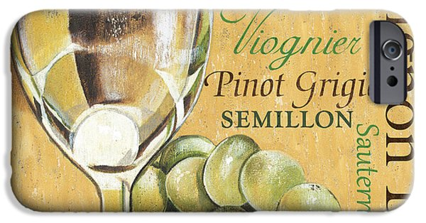 Wine Glasses Paintings iPhone Cases - White Wine Text iPhone Case by Debbie DeWitt
