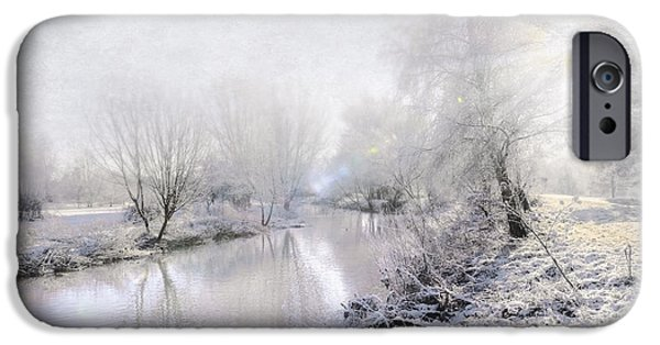 Snowy Stream iPhone Cases - White Winter iPhone Case by Svetlana Sewell