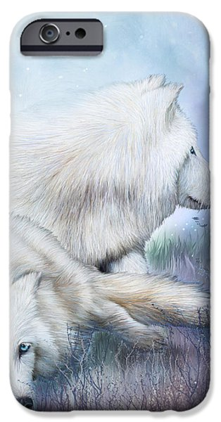 Arctic Wolf Mixed Media iPhone Cases - White Wolf Mates iPhone Case by Carol Cavalaris