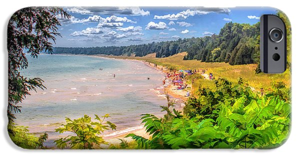 Dunes Paintings iPhone Cases - Whitefish Dunes State Park Beach iPhone Case by Christopher Arndt