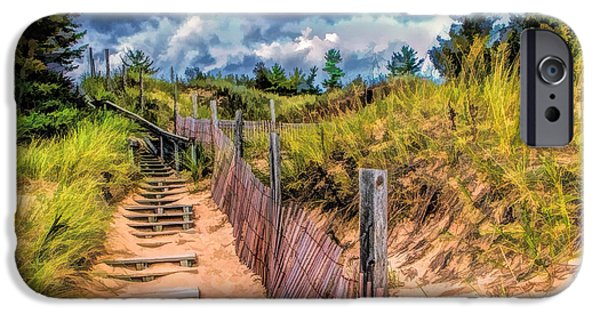 Dunes Paintings iPhone Cases - Whitefish Dunes State Park Stairs iPhone Case by Christopher Arndt