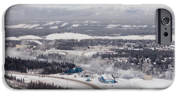 Fog Mist iPhone Cases - Whitehorse hydro station in winter Yukon Canada iPhone Case by Stephan Pietzko