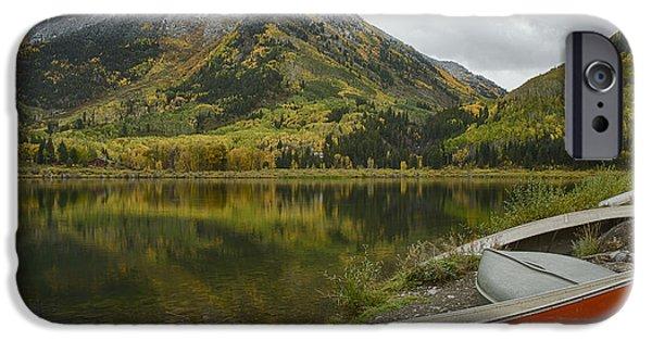 Red Canoe iPhone Cases - Whitehouse Mountain iPhone Case by Idaho Scenic Images Linda Lantzy