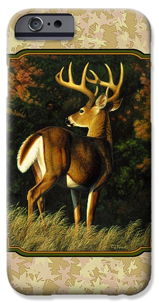 Whitetail Deer iPhone Cases - Whitetail Buck Autumn Leaves Pillow iPhone Case by Crista Forest