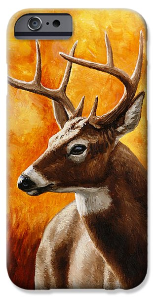 Whitetail Deer iPhone Cases - Whitetail Buck Portrait iPhone Case by Crista Forest