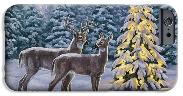 Snowy Evening iPhone Cases - Whitetail Christmas iPhone Case by Crista Forest