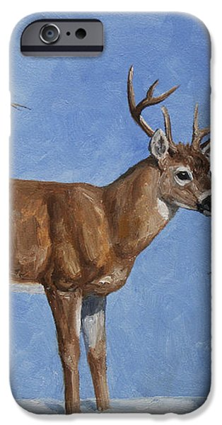 Whitetail Deer and Snowman - Whose Carrot? iPhone Case by Crista Forest
