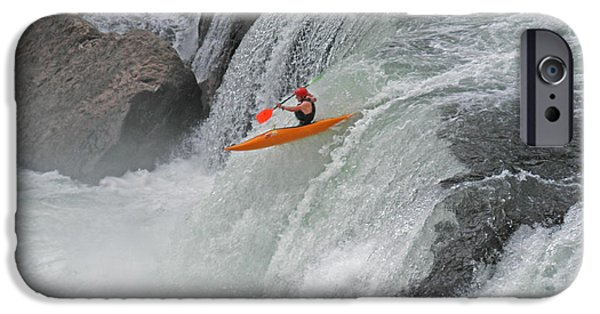Kayak iPhone Cases - Whitewater Attack iPhone Case by John Stephens
