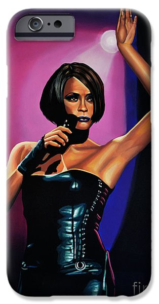 At Work iPhone Cases - Whitney Houston On Stage iPhone Case by Paul Meijering