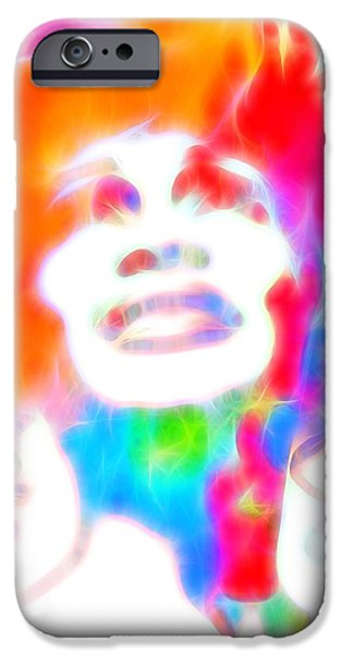 The Hills Mixed Media iPhone Cases - Whitney Houston Glowing iPhone Case by Dan Sproul