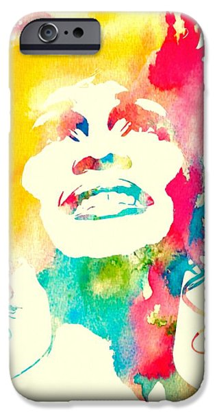 The Hills Mixed Media iPhone Cases - Whitney Houston Watercolor Canvas iPhone Case by Dan Sproul