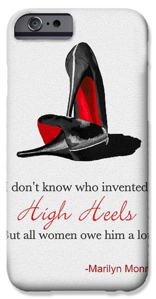 High Heeled iPhone Cases - Who Invented High Heels? iPhone Case by Rebecca Jenkins