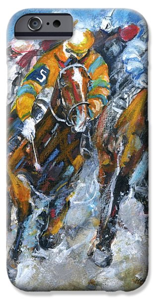 Horse iPhone Cases - Who is really winning iPhone Case by Mary Armstrong