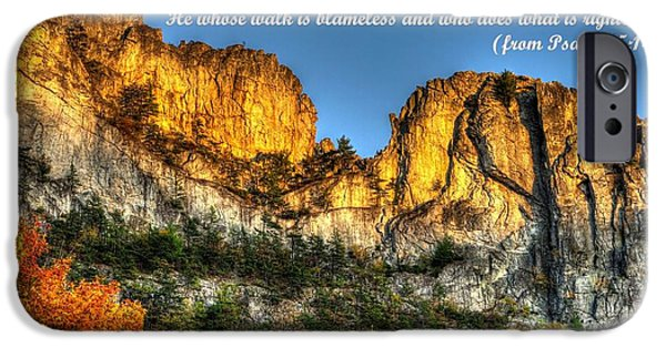 West Fork iPhone Cases - Who May Live on Your Holy Hill - Psalm 15.1-2 - From Alpenglow at Days End Seneca Rocks WV iPhone Case by Michael Mazaika