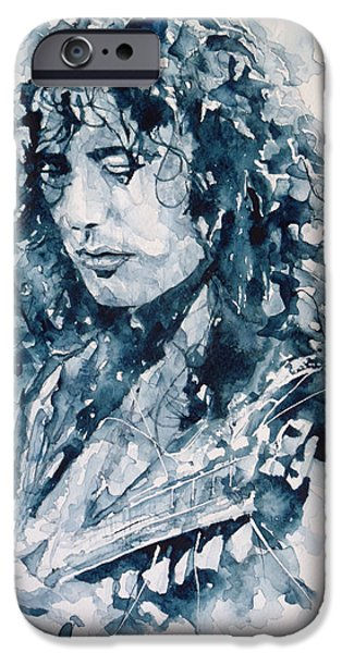 Lips iPhone Cases - Whole Lotta Love Jimmy Page iPhone Case by Paul Lovering