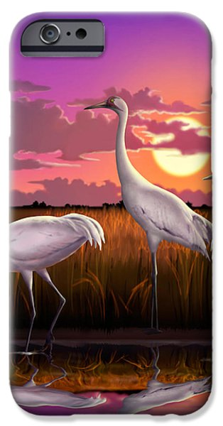 Coastal Decor Digital Art iPhone Cases - Whooping Cranes Tropical Florida Everglades Sunset birds landscape scene purple pink print iPhone Case by Walt Curlee
