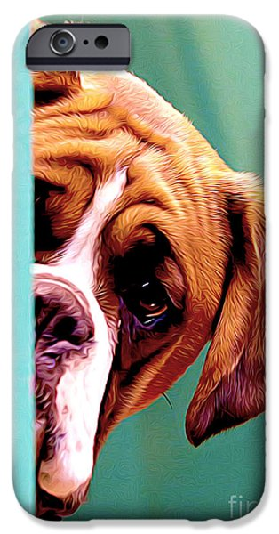 Boxer iPhone Cases - Whos There iPhone Case by Larry Espinoza