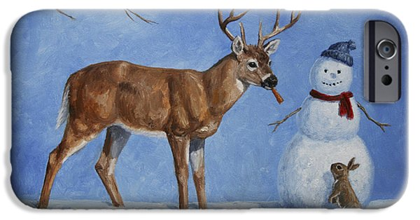 Whitetail Deer iPhone Cases - Whose Carrot Seasons Greeting iPhone Case by Crista Forest